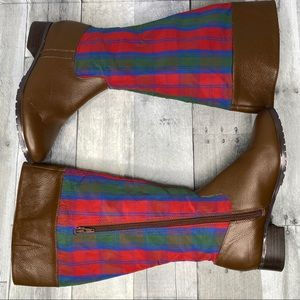 JEFFREY BANKS Striped Fabric Riding Boots Size 7